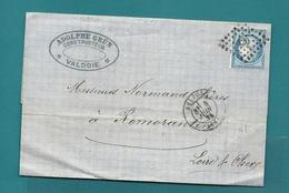 PC Du GC 420 De BELFORT. LAC écrite à Valdoie Pour Romorantin. 1872 - Marcophilie (Lettres)