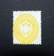 Austrian Italy LOMBARDY-VENETIA 1863 SG27/Sc.#15 Embossed 2s Yellow Perf 14  Unused. - Lombardy-Venetia