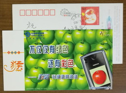 Green Apple,red Apple,Nokia Cell Phone,China 2004 Mobile Multimedia Message MMS Service Advertising Pre-stamped Card - Fruits