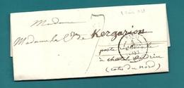 Paris Pour Le Comte De KERGARIOU En Poste Restante à Chatelaudren (Cotes Du Nord). LAC De 1838 - Marcophilie (Lettres)