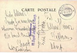 Marcophilie Guerre 1914 1918 Cachet Militaire Feld Post Feldpost 1917 18 Bayer Inf Rgt 2 Komp Cpa Carvin Eglise - Storia Postale