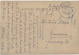 Marcophilie Guerre 1914 1918 Cachet Militaire Feld Post Feldpost 1917 Feldart Rgt 6 Cpa Carvin Eglise Et Mairie - Storia Postale