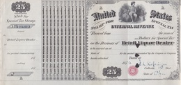 UNITED STATES, STAMP FOR SPECIAL TAX, INTERNATIONAL REVENUE, RETAIL LIQUOR DEALER 1876 25 DOLLARS PER YEAR- BLEUP - United States