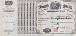 UNITED STATES, STAMP FOR SPECIAL TAX, INTERNATIONAL REVENUE, RETAIL LIQUOR DEALER 1876 25 DOLLARS PER YEAR- BLEUP - Verenigde Staten