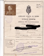 CEDULAS NACIONALIDAD NACIDO EN ORENSE, CONSULADO DE ESPAÑA EN ARGENTINA AÑO 1927- BLEUP - Historische Documenten