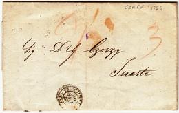 Prefilatelica, Corfù Per Trieste, Lettera Con Contenuto In Greco. Tasse In Sanguigna 30 Settembre 1853 - ...-1861 Prephilately