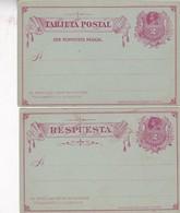 ENTEROS CHILE ENTIERS CON JUEGO POSTAL MAS RESPUESTA CIRCA 1900's.- BLEUP - Chile