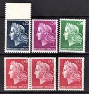 FRANCE 1967 -  LOT 6 TP NEUFS** / Y.T. N° 1535 / 1536 / 1536A / 1536B X 3 - France