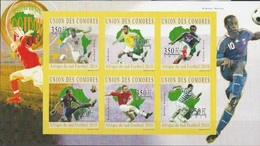 ISOLE COMORE - 2010 South Africa 2010 Football IMPERFORATED  6v M/s - Serie Cpl. 1 BF Nuovo** Perfetto - Isole Comore (1975-...)