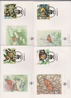 World Wide Fund For Nature 1988 Mexico Butterflies, Set 4 Official First Day Covers - FDC