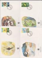 World Wide Fund For Nature 1989 Liechtenstein Birds Set 4 Official First Day Covers - FDC