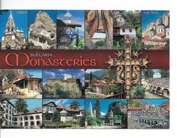"""BULGARIE MONASTERES / CPM N° 10103 Multivues - 14 - Voyagée En 2018 (timbre """"ROSE"""" Non Oblitéré)  / TTBE - Bulgaria"""
