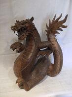 Sculpture Statue Bois  - Mauvais Etat A Restaurer -- Dragon - - Bois