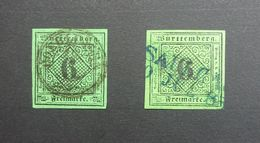 German States WURTTEMBERG 1851  SG5/Mi.3/Sc.#4  6k Black On Green Imperf Used With 2 X Different Cancels. - Wurtemberg