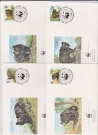 World Wide Fund For Nature 1989 Pakistan Bear Set 4 Official First Day Covers - FDC