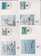 World Wide Fund For Nature 1990 Montserrat Dolphins Set 4 Official First Day Covers - FDC