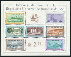 Panama C209a,as MLH.Michel Bl.5. World Fair Brussels-1958.Pavilions. - 1958 – Brussels (Belgium)