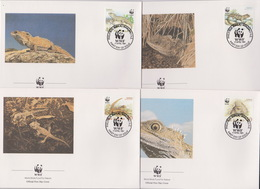World Wide Fund For Nature 1991 New Zealand Tuatara ,Set 4 Official First Day Covers - FDC