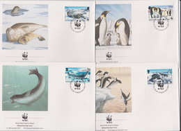 World Wide Fund For Nature 1992 British Antarctic Territory Wildlife,Set 4 Official First Day Covers - FDC