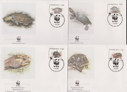World Wide Fund For Nature 1992 Venezuela Turtles,Set 4 Official First Day Covers - FDC