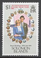 Solomon Islands 1982 Mi# 459** ROYAL WEDDING, OVPD. CYCLONE RELIEF FUND - Salomon (Iles 1978-...)
