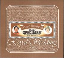 CV:€33.60 ZIL ELWANNYEN SESEL 1981 Diana's Wedding SPECIMEN SHEETLET - Seychelles (1976-...)