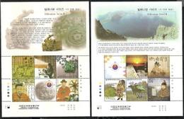 Korea, Scott 2018 # 1971, Issued 2000, 2 S/S Of 5 + Label, MNH, $ 13.00, Millennium - Korea, South