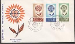 1964  Europa Issue On Single FDC - Cyprus (Republic)