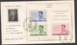 1965  JF Kennedy Souvenir Sheet FDC - Cyprus (Republic)