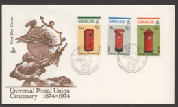 1974  UPU Centenary  Set  On Single FDC - Gibraltar