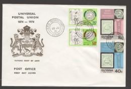 1974  UPU Centenary Completee Set On Unaddressed FDC - Guyana (1966-...)