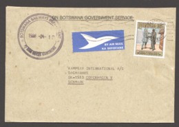 1986  Air Letter To Denmark - Declaration Of Protectorate 25t  Mi 374 - Botswana (1966-...)