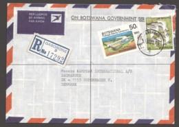 1985  Registered  Air Letter To Denmark -  Birds 5t, Postage Stamp Centenary 50t Mi 303, 363 - Botswana (1966-...)