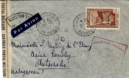 1943 - Enveloppe Par Avion Se Saint-Denis à Madagascar  Censure Des FFL    Affr. France Libre N°232 SEUL - Poste Aérienne