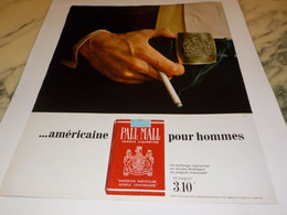 ANCIENNE PUBLICITE CIGARETTE PALL MALL  1969 - Tabac (objets Liés)