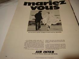 ANCIENNE PUBLICITE MARIEZ VOUS AERIENNE AIR INTER 1969 - Pubblicità
