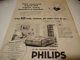 ANCIENNE PUBLICITE LAMPE PHILIPS 1956 - Publicidad