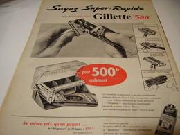 ANCIENNE PUBLICITE LAME GILLETTE 500 1956 - Parfums & Beauté