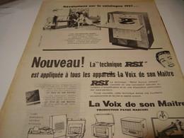 ANCIENNE AFFICHE PUBLICITE TECHNIQUE RSI PATHE MARCONI 1956 - Musique & Instruments