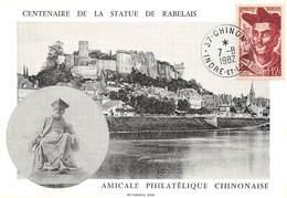 P-T3-18-5948  : CARTE MAXIMUM.  CENTENAIRE DE LA STATUE DE RABELAIS CHINON LE 7 AOUT 1982 - 1980-89