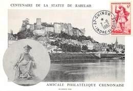 P-T3-18-5949  : CARTE MAXIMUM.  CENTENAIRE DE LA STATUE DE RABELAIS CHINON LE 7 AOUT 1982 - 1980-89