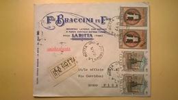 1975 BUSTA INTESTATA RACCOMANDATA PISA RARITA BOLLO SERIE FONTANE BOLOGNA TOMMASO D' AQUINO - 6. 1946-.. Repubblica