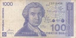 Croatie - Billet De 1000 Dinara - 1991 - Ruder Boskovic - Croacia