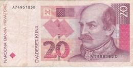 Croatie - Billet De 20 Kuna - Josip Jelacic - 31 Octobre 1993 - Croacia