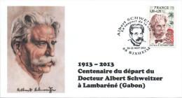 FRANCE 2015 Cachet Philatélique SCHWEITZER 50ème Anniversaire Mort COLMAR - Albert Schweitzer