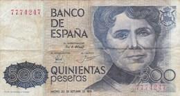 Espagne - Billet De 500 Pesetas - 23 Octobre 1979 - Rosalia De Castro - [ 4] 1975-… : Juan Carlos I