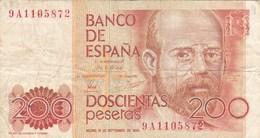 Espagne - Billet De 200 Pesetas - Leopoldo Alas Clarin - 16 Septembre 1980 - [ 4] 1975-… : Juan Carlos I