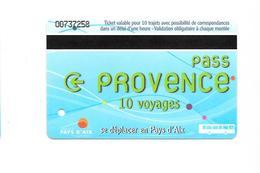 1 Carte Pass Provence 10 Voyages. Aix En Provence. (Voir Commentaire) - Bus
