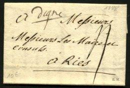 """BASSES ALPES : Pli De DIGNE De 1788 En Port Du à 4 Sol Avec Marque Manuscrite """"Digne"""" Pour RIES - Postmark Collection (Covers)"""