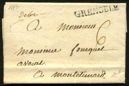 ISERE : Pli De GRENOBLE De 1773 En Port Du à 6 Sol Avec Marque Linéaire GRENOBLE Pour MONTELIMART - Marcophilie (Lettres)